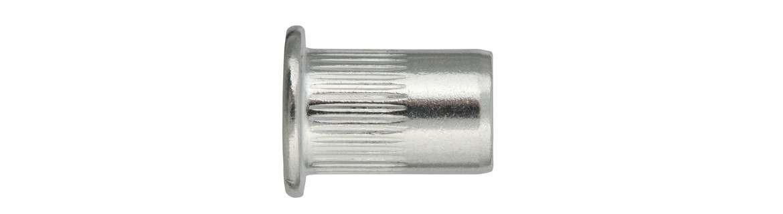 Rivet nuts, round pan head, aluminium